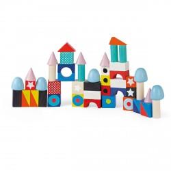 50 maxi cubes de construction en bois Janod