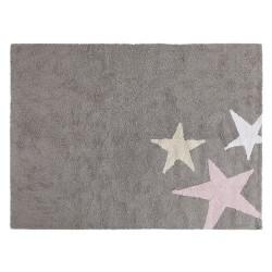 Tapis fille souple gris Trois étoiles